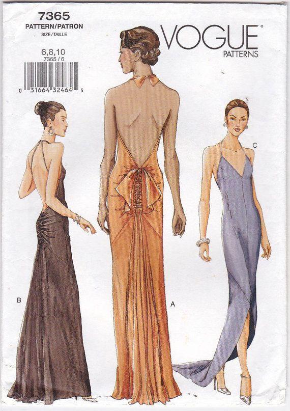 Vogue 7365 FF ungeschnitten Halfter Hals rückenfreie formelle ...