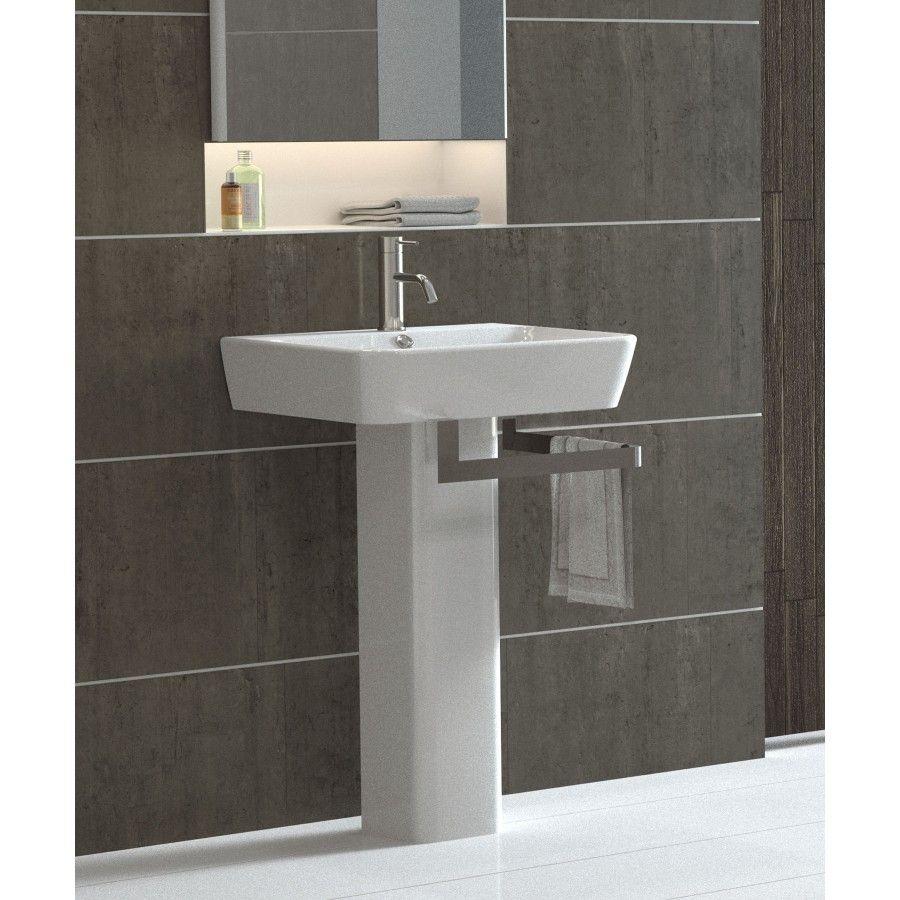 """Bissonnet Emma 21.7"""" Full Pedestal Overflow Bathroom Sink With Optional Towel Bar - 27000-27430"""