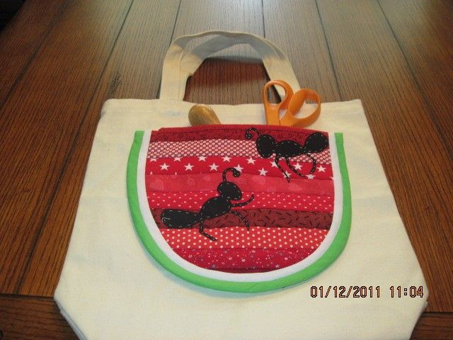 watermelon/ants tote bag such a great bag for summer and sewing projects!