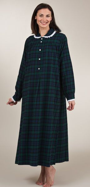 a05036f264 Last Ones Size M - Lanz Gown Peter Pan Collar Cotton Flannel in Black Watch  Plaid