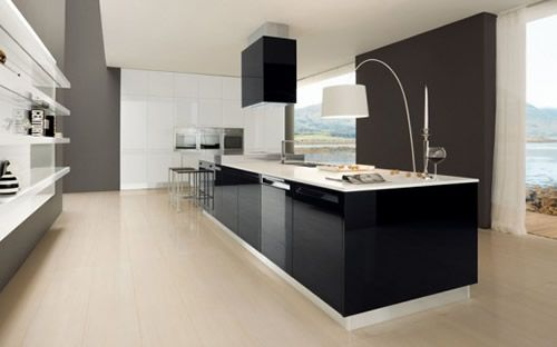 Delightful Glossy Black And White Polymeric Laminate Design Luxurious Kitchen  Decorating Good Ideas
