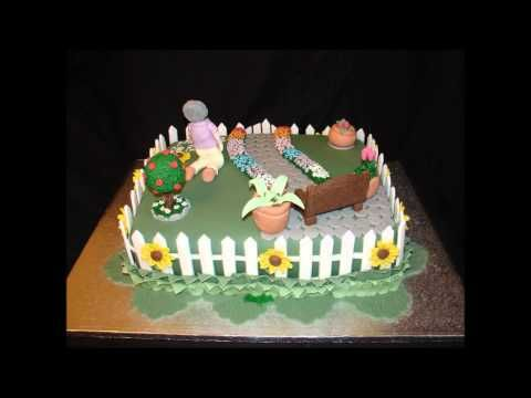Garden Design Birthday Cake garden theme 80th birthday fondant cake - youtube | cakes