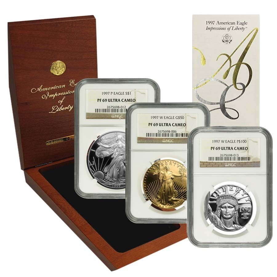 1997 3-Coin Proof Impressions of Liberty Set NGC PF 69 Ultra Cameo (w/Box&COA) in Coins & Paper Money, Bullion, Gold | eBay