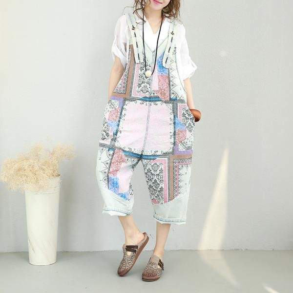 c5186513899 Lovely Vintage Prints Cotton Jumpsuits Summer Plus Size Rompers  rompers   plussize  cotton  prints  jumpsuits  overalls  amazing  fashion