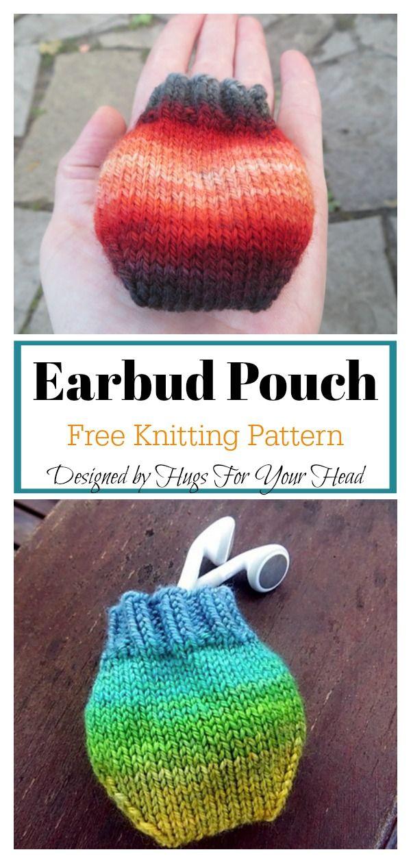 Earbud Pouch Knitting Pattern #knitting