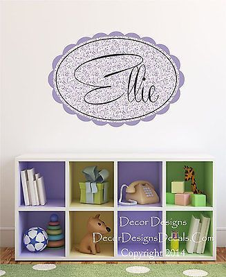 paisley custom name printed fabric removable wall decal sticker
