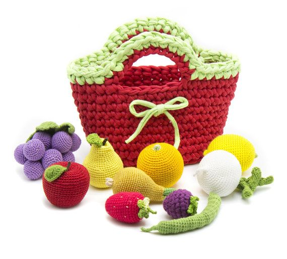 Any 10 Pieces In A Bag Crochet Fruit And Vegetables Teether