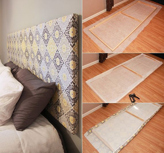 bett kopfteil selber machen aus holzrahmen und stoff als coole - schlafzimmer selber machen