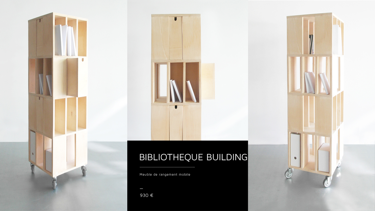Biblioth Que Building Meuble De Rangement Mobile Design Val Rie  # Meuble Bibliotheque Design