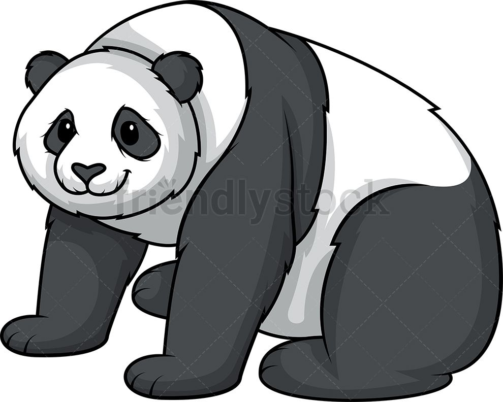 Panda Bear Sitting Cartoon Clipart Vector Friendlystock Cartoon Clip Art Panda Bear Cartoon Illustration