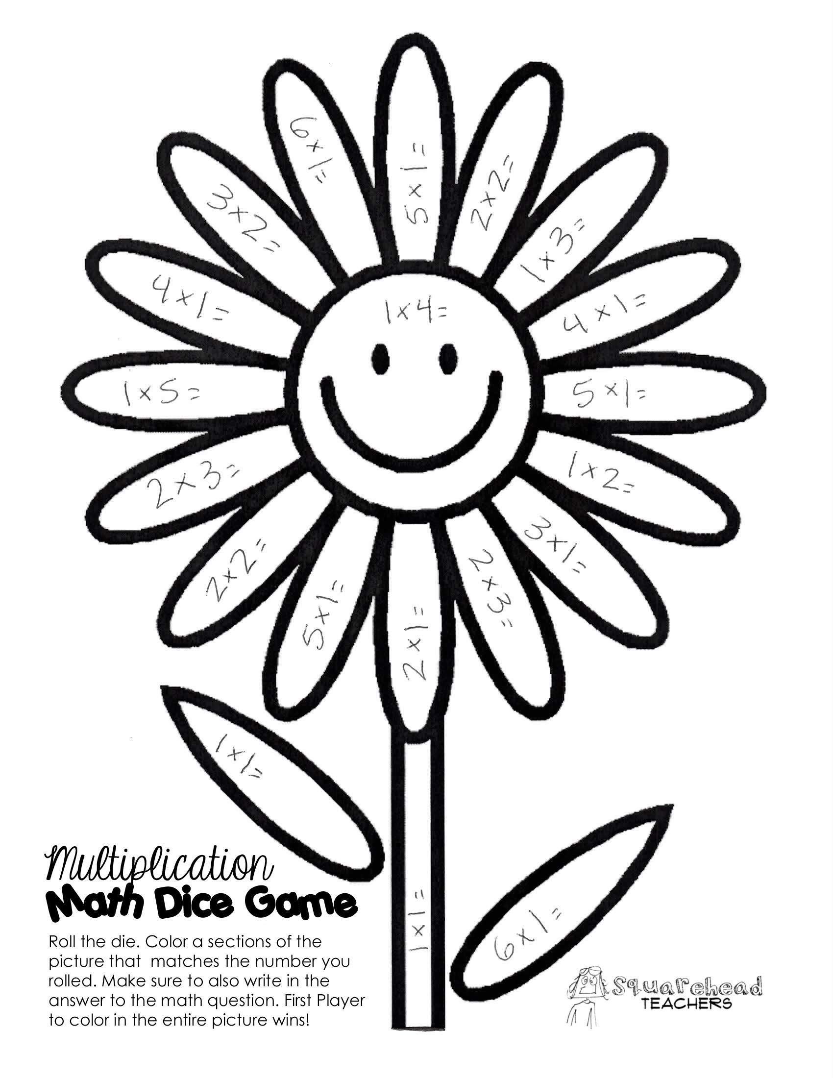 Spring Time Math Facts Dice Game Math Coloring Math Facts Timed Math Facts [ 2200 x 1700 Pixel ]