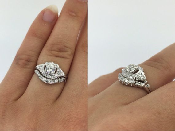 Cast In Luxurious Platinum This Antique Engagement Ring And Band Are A Gorgeous Set