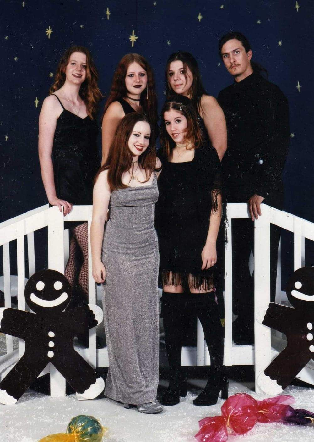 My Sister In Silver And Her Edgy Goth Friends At Prom 1999 Blunderyears Prom Edgy Sleeveless Formal Dress [ 1406 x 1000 Pixel ]