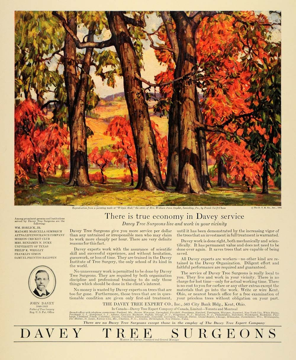 1931 Ad Frank Swift Chase Davey Tree Expert Sewickley Original