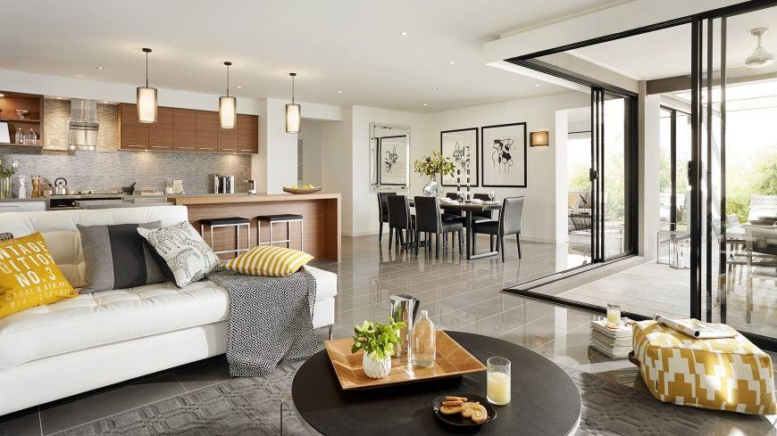 Casa de un piso moderna con hermosa fachada y diseño de interiores