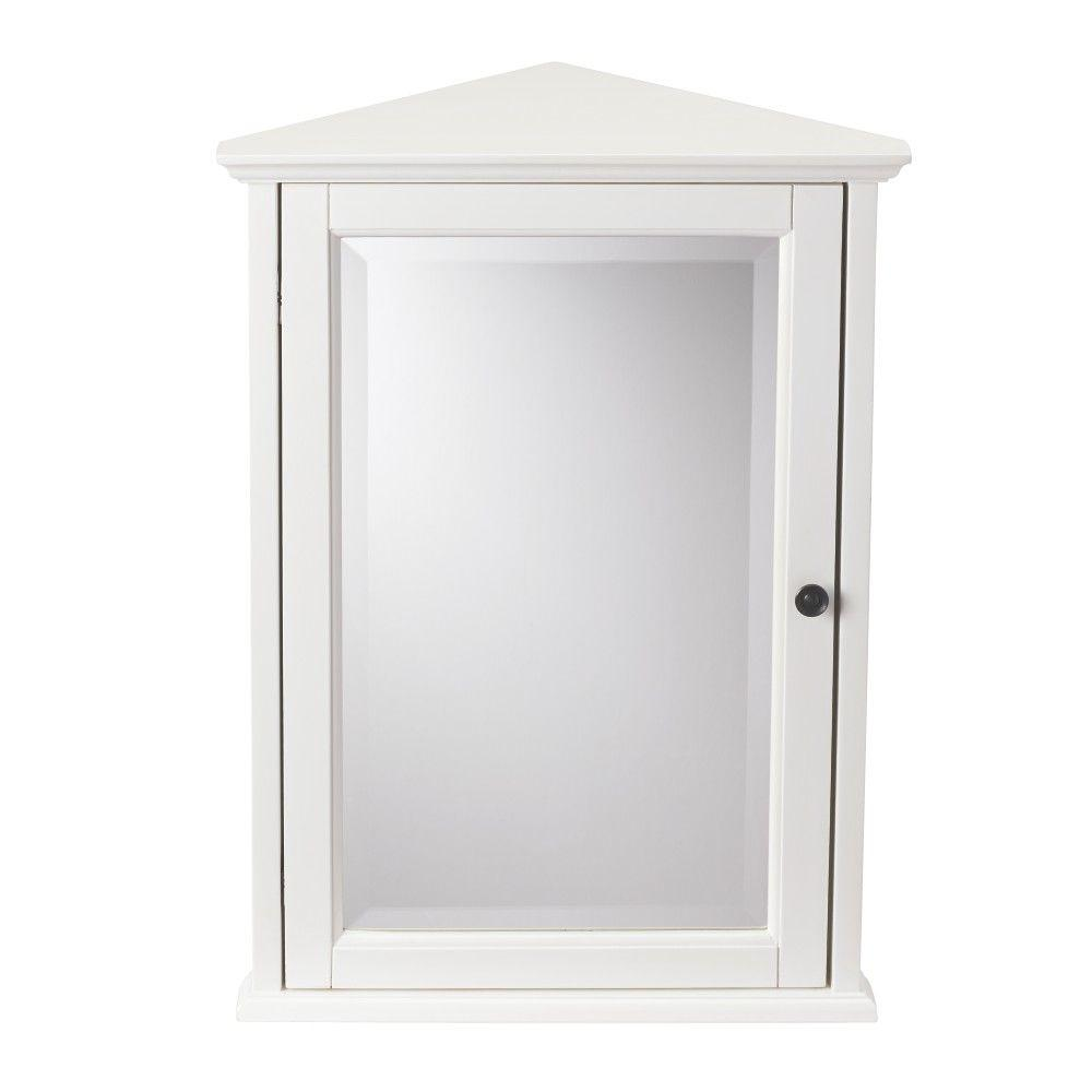 Home Decorators Collection Hamilton 20 In W X 27 In H Surface Mount Corner Wall Medicine Cabinet In Ivory 0567700410 The Home Depot In 2021 Corner Wall Corner Medicine Cabinet Bathroom Medicine Cabinet