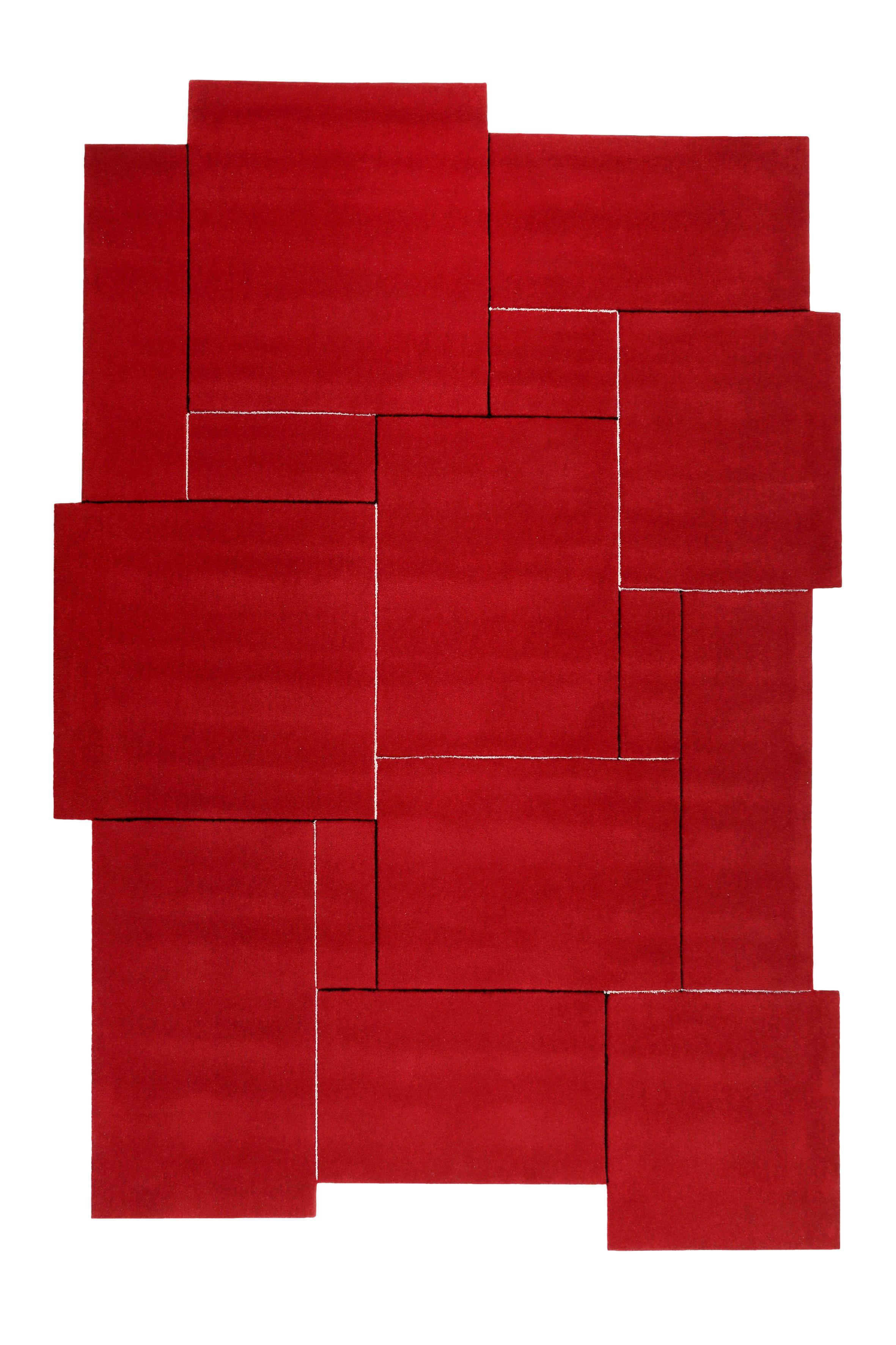 Esprit Kurzflor Teppich Aus Wolle Puzzle Rot Teppich Kurzflor Teppiche Teppich Wohnzimmer