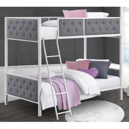 249 Chesterfield Upholstered Bunk Bed White Metal With Grey Linen