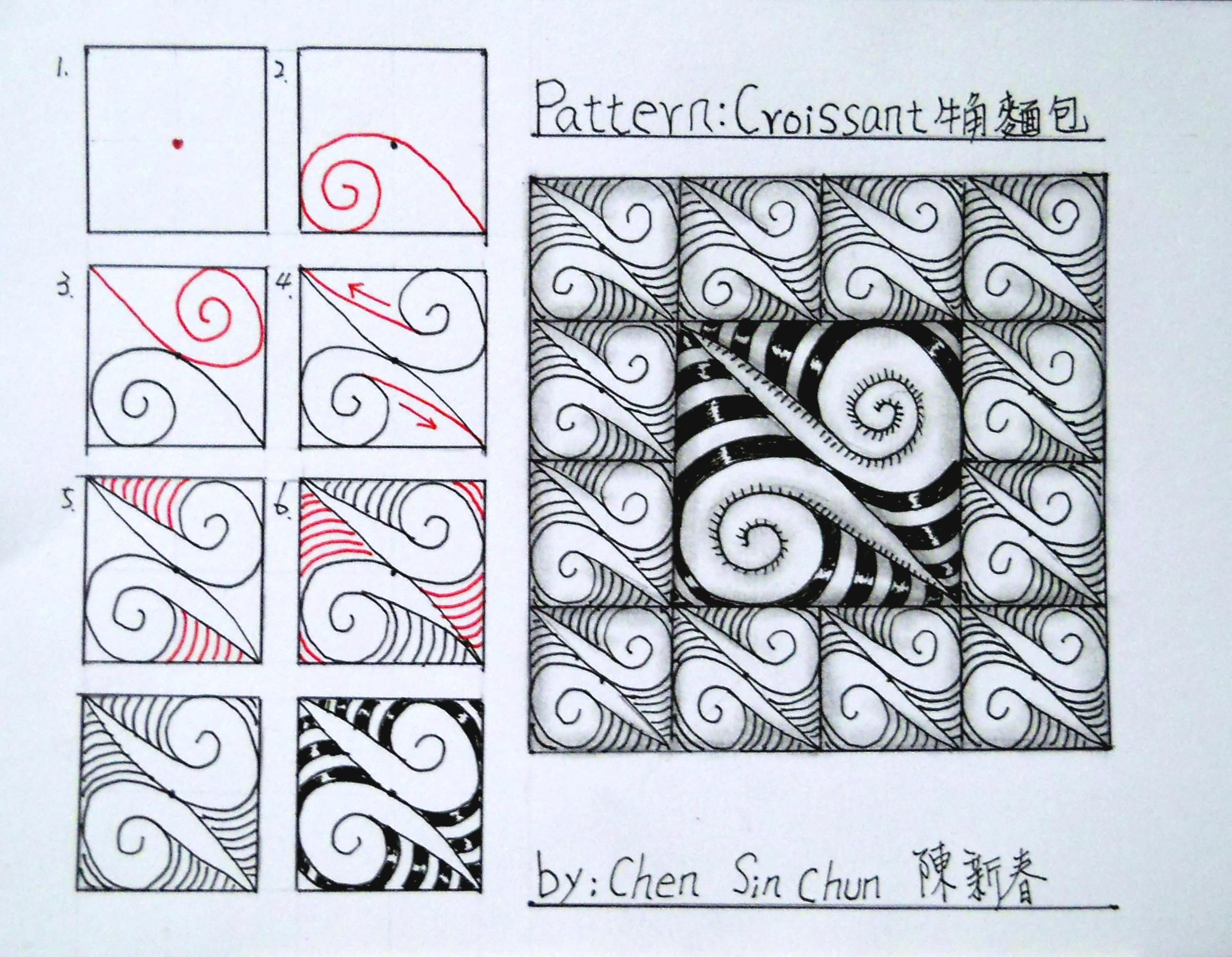 Croissant Zentangle Doodles How To Tangle Pattern Tutorial