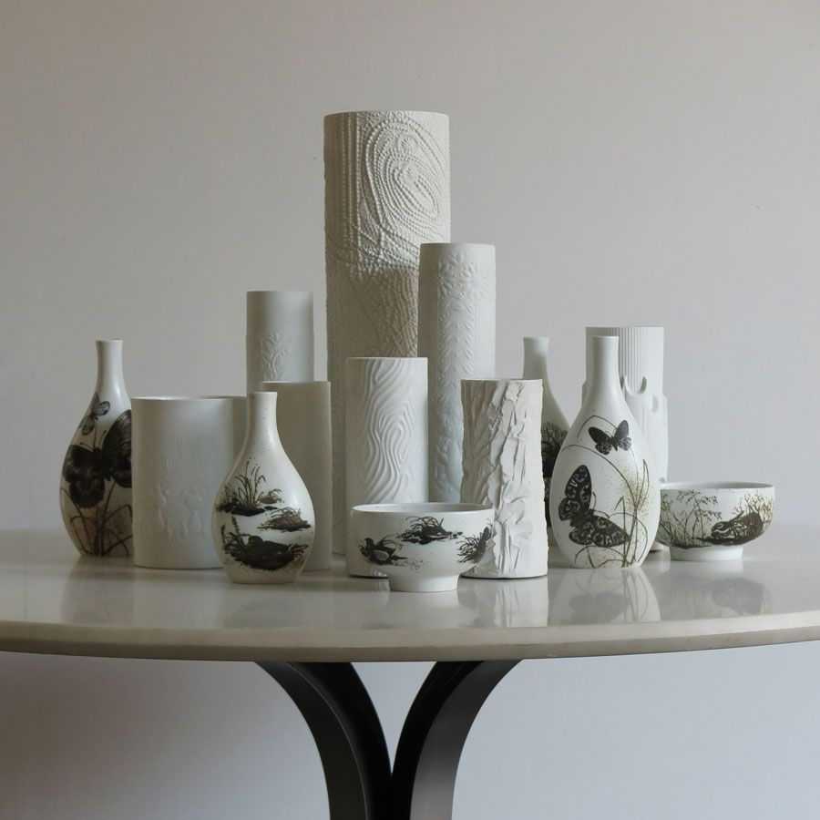Design Scandinavo Anni 50 set vasi in porcellana bianca rosenthal studio linie anni 70