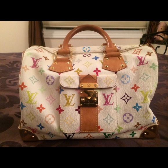 91abecd12b77 Louis Vuitton monogram multicolor speedy 30! 100 percent authentic  pre-loved Louis Vuitton speedy 30 in white multicolor canvas! Perfect for  summer!