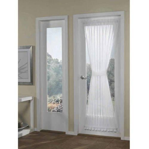 72 Inch White Solid Color Voile Sheer French Door Curtain French