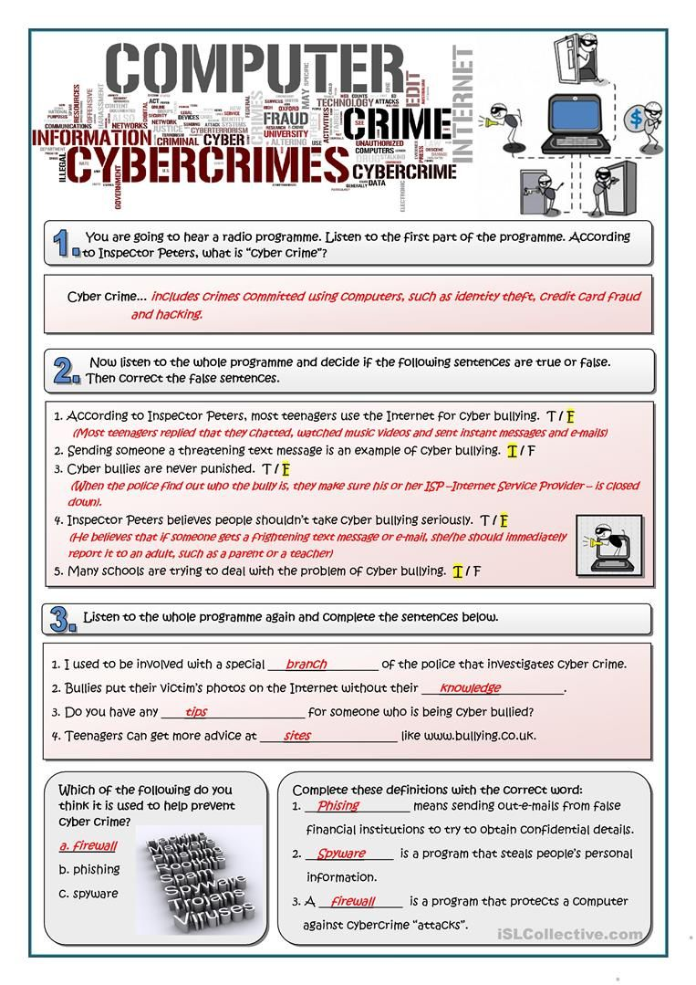 Cybercrime English Esl Worksheets For Distance Learning And Physical Classro Reading Comprehension Lessons Teaching English Grammar English Language Learning [ 1079 x 763 Pixel ]