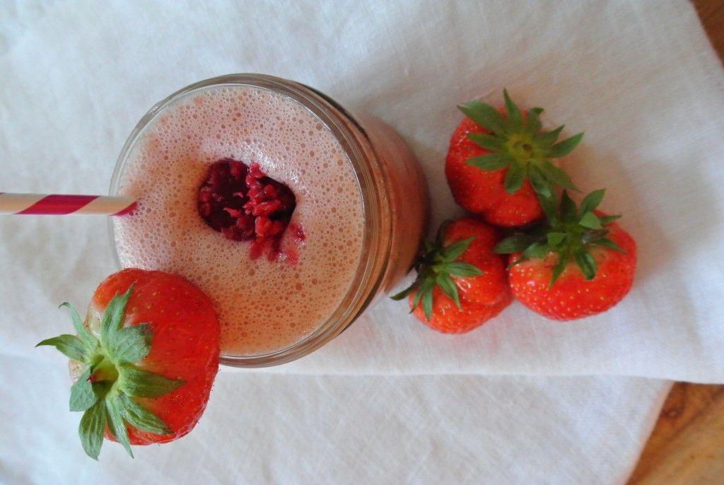 Vegan Aardbeien Milkshake