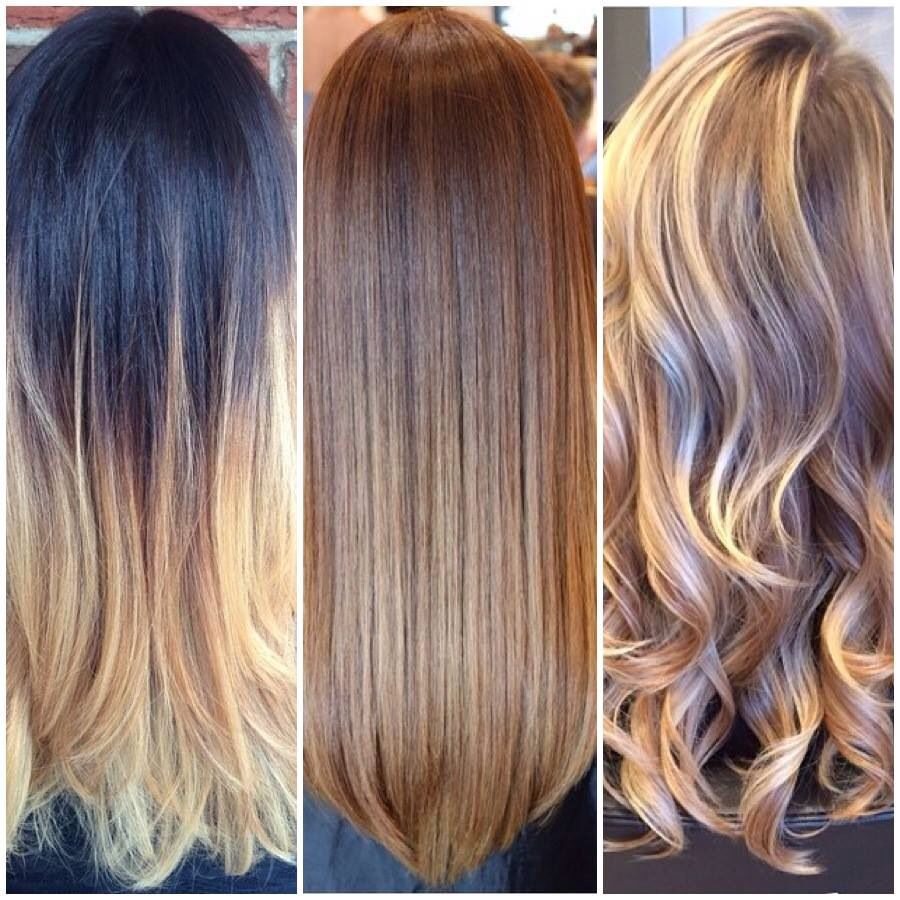 three different styles for fall! ombré, brown color blend, and
