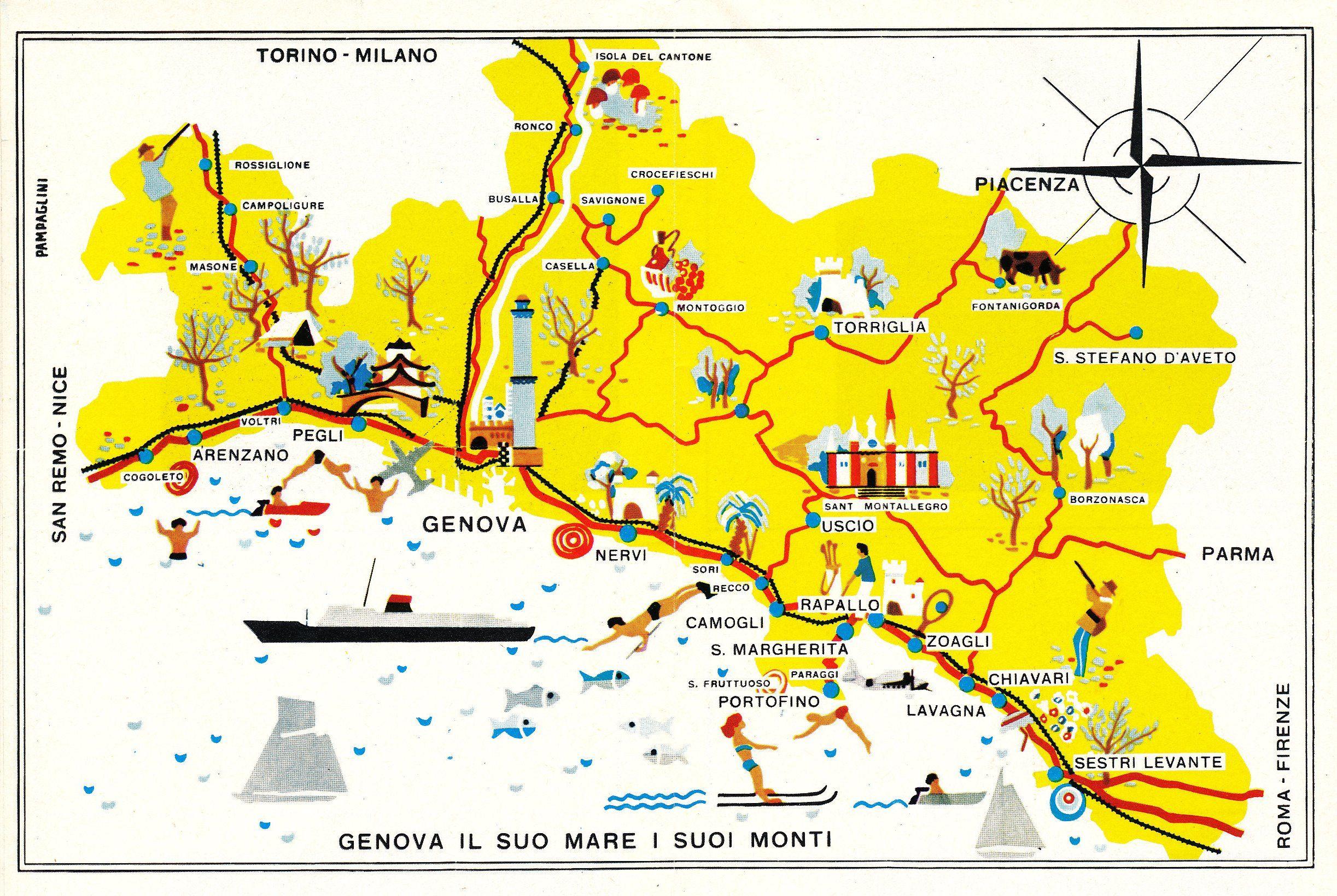 Cartina Turistica Liguria.Cartina Turistica All Interno Dell Opuscolo Genova Il Suo Mare I Suoi Monti Pampaglini 1959 Foto Storiche Buon Viaggio Prodotto Interno Lordo
