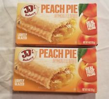 2 JJs Bakery Lightly Glazed Peach Pies 4oz Yummy Fruit Pie Snack Dessert