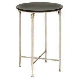 """Marble-top end table with a fluted silver-finished base.   Product: End tableConstruction Material: Marble and metal alloyColor: Silver and blackDimensions: 26"""" H x 18"""" Diameter"""
