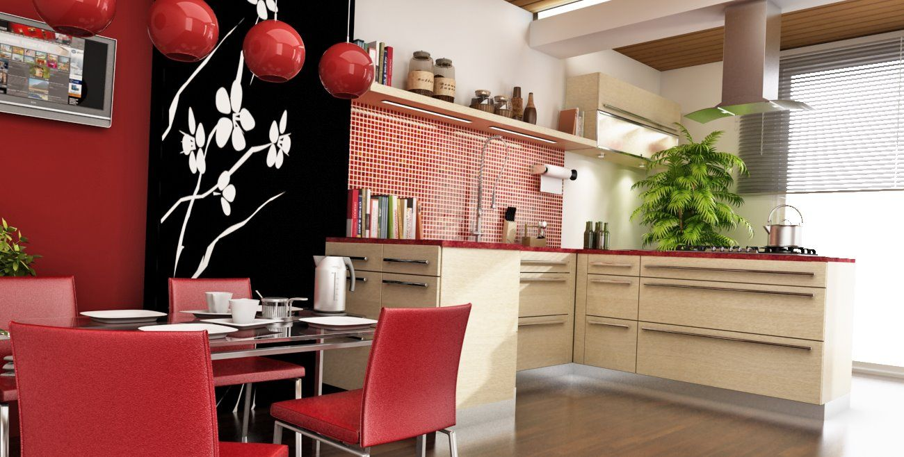 amazing chinese style kitchen decor with red color scheme. Black Bedroom Furniture Sets. Home Design Ideas