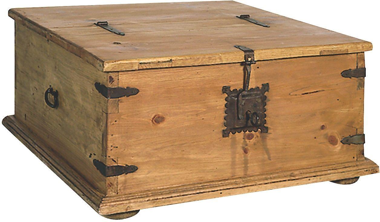 Santa fe rusticos solid pine trunk style coffee table with for Pine coffee table with storage