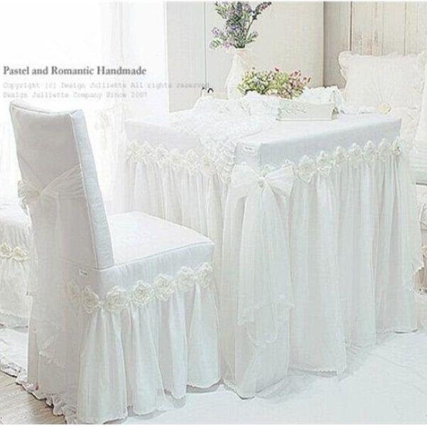 Dj Blanc Princesse Dentelle Nappe De Luxe Rose Table Manger Chaise En Tissu Coussin Nappe De