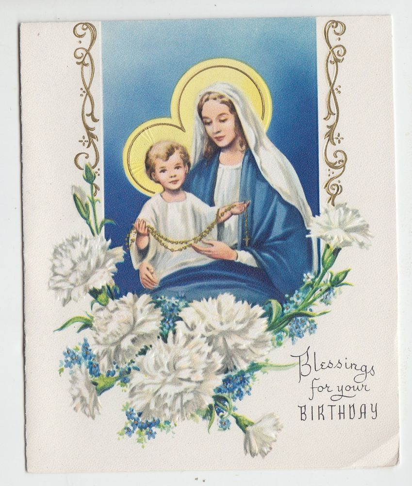 Vintage mary and jesus with white carnations birthday greeting card vintage mary and jesus with white carnations birthday greeting card kristyandbryce Images