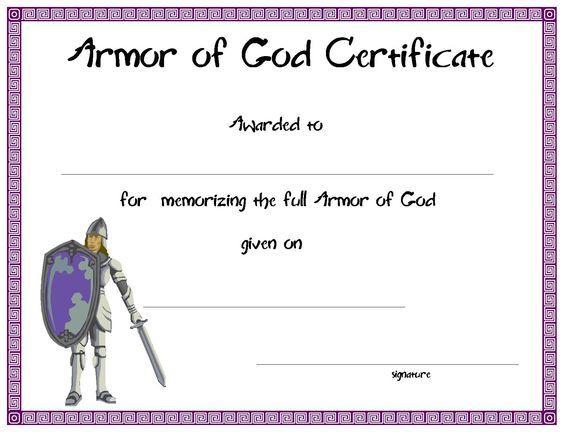 Certificatetemplate armor of god certificate for your kids certificatetemplate armor of god certificate for your kids ministry yadclub Images