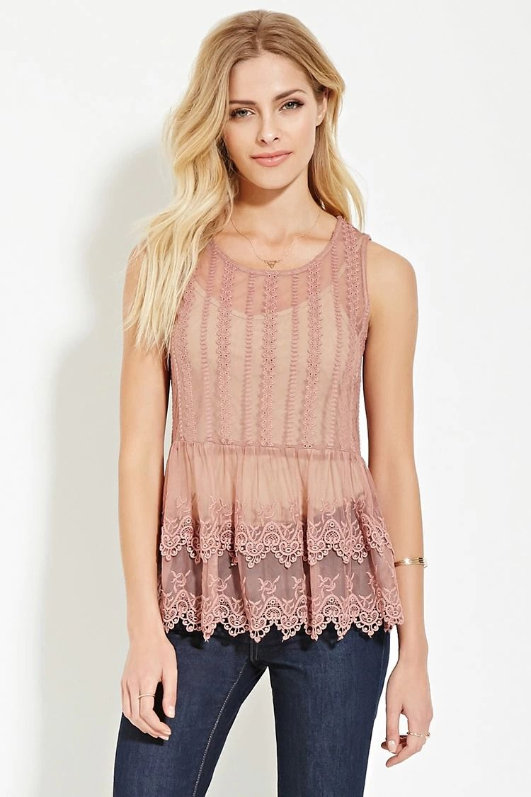 Contemporary Eyelet Mesh Layered Top #f21contemporary