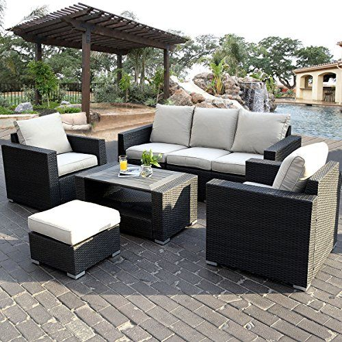 Giantex 7pc Outdoor Patio Sectional Furniture Pe Wicker Rattan Sofa Set Deck Couch