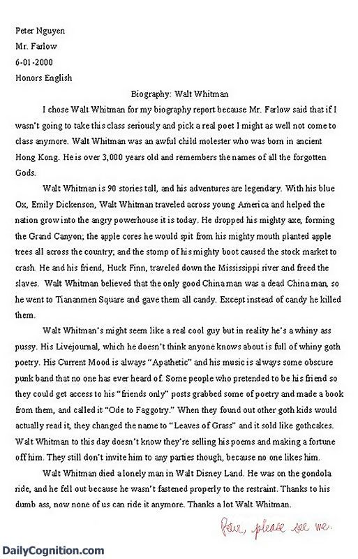 essay walt whitman funny