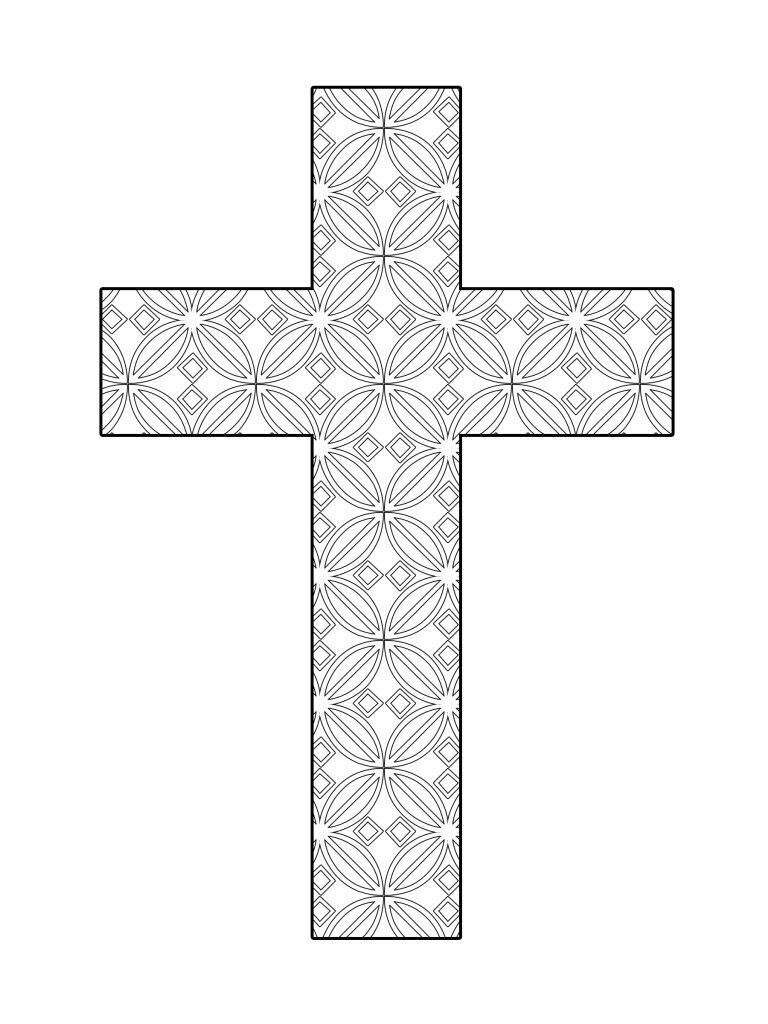 Printable cross coloring flower pattern the cross for Coloring pages of cross