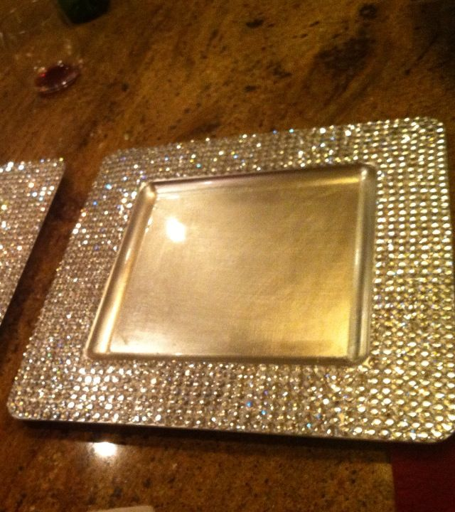 Rhinestone silver charger plates reception decorations for Bling decor