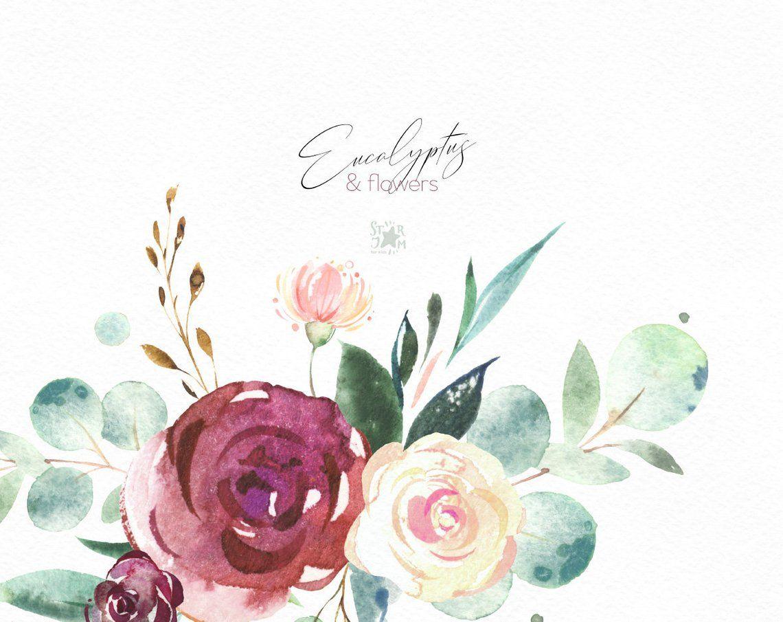 Eucalyptus Flowers Wreaths Floral Arrangements Watercolor