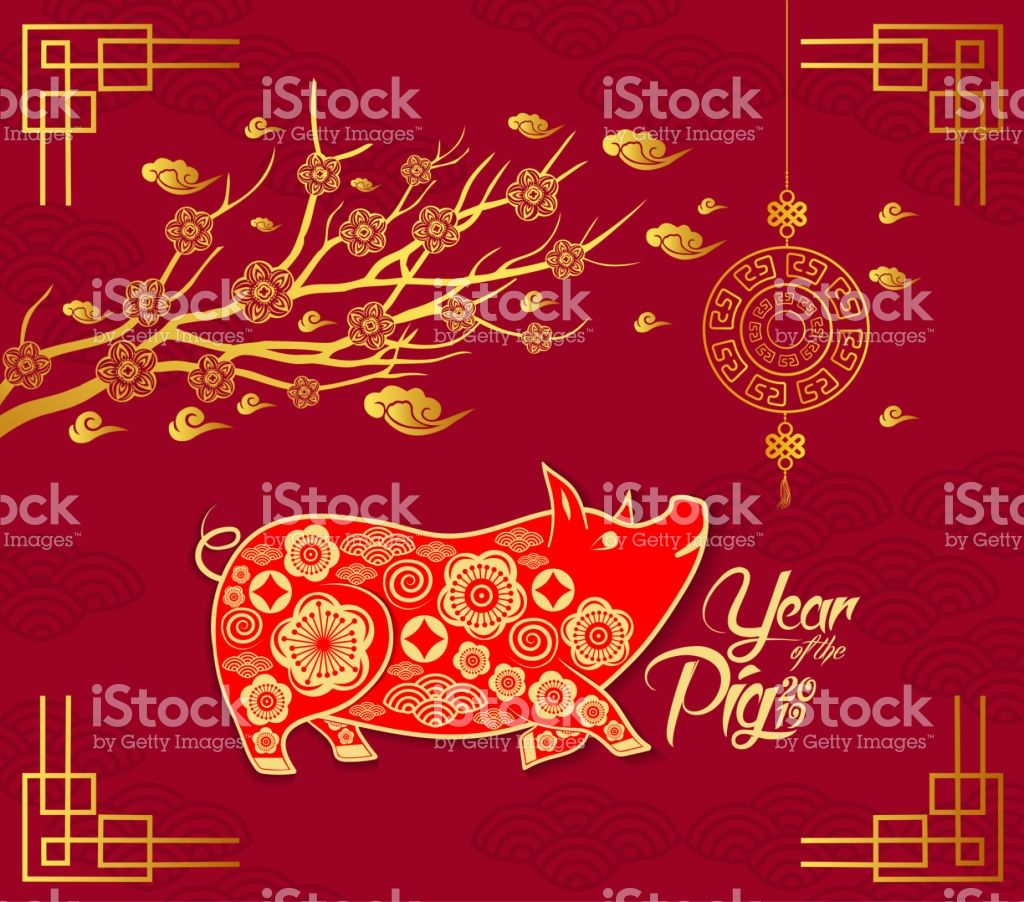 Happy Chinese New Year 2019 Card With Pig Blossom And Lantern Year Happy Chinese New Year Chinese New Year Design Chinese New Year