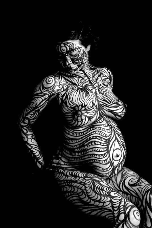 1563-AM Fine Art Nude Pregnant Goddess Hand Photo Maher