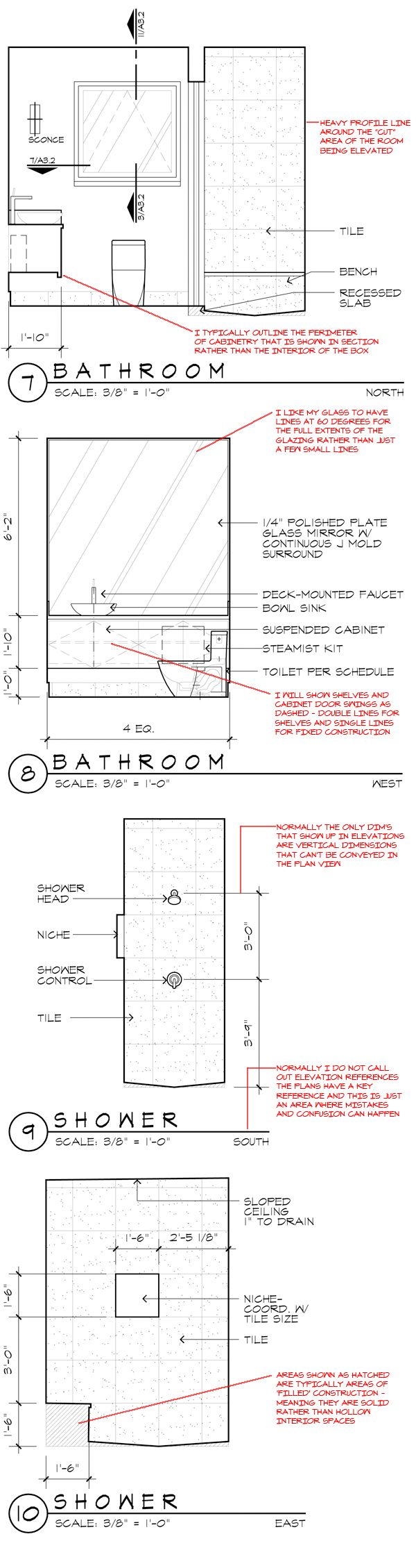 Bathroom section drawing - Interior Elevations Architectural Graphics Standards