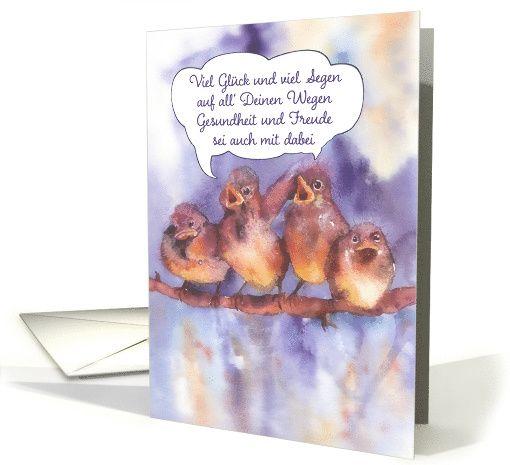 Happy Birthday in German singing sparrows card – Birthday Card in German