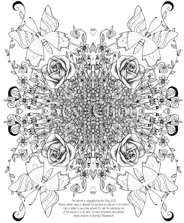 Adult Coloring Page Rose by BevChoyArt on Etsy My Doodles Pinterest