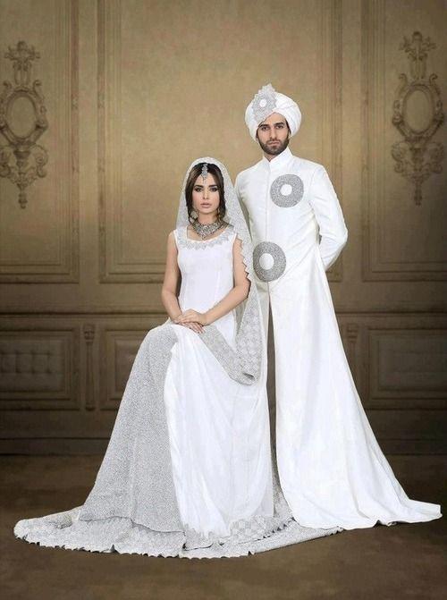 Pakistani Punjabi Wedding Couple Bride And Groom White