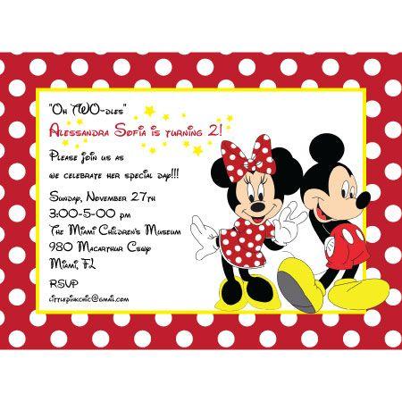 Mickey Minnie Mouse Birthday Invitation Custom DIY Printable – Mickey and Minnie Party Invitations